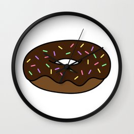Chocolate Donut with Sprinkles Wall Clock