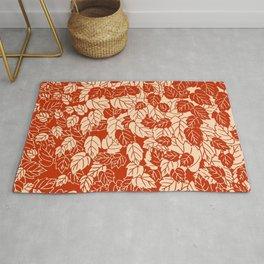 Japanese Leaf Print, Mandarin Orange Rug