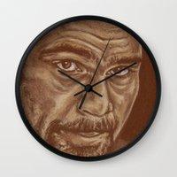 lucas david Wall Clocks featuring round 11..david haye by noblackcolor