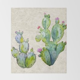 Water Color Prickly Pear Cactus Adobe Background Throw Blanket