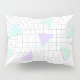Cool-Color Pastel Triangles on Grid Pillow Sham