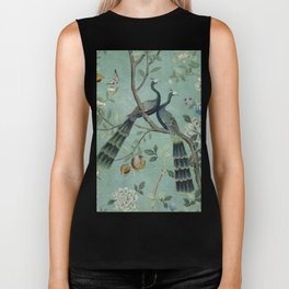 A Teal of Two Birds Chinoiserie Biker Tank