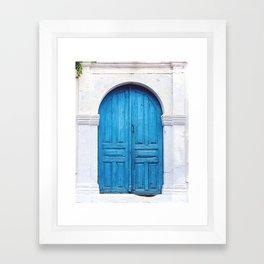 Vibrant Blue Greek Door to Whitewashed Home in Crete, Greece Framed Art Print