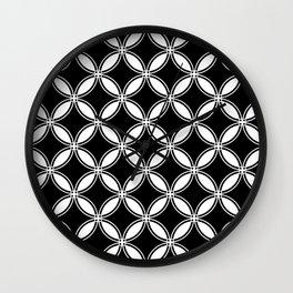 Large Black Geometric Circles Interlocking on White Background Wall Clock