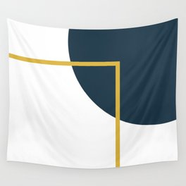 Fusion Minimalist Geometric Abstract in Mustard Yellow, Navy Blue, and White Wall Tapestry