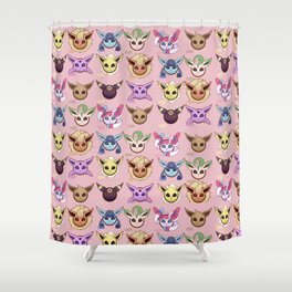 Eeveelutions Pink Shower Curtain
