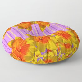 Orange-Yellow Daffodils Lilac Vision Floor Pillow