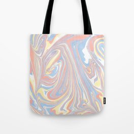 Abstract modern coral white yellow blue watercolor marble Tote Bag