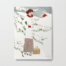 "C Coles Phillips 'Fadeaway Girl' ""Winter Snowscape"" Metal Print"
