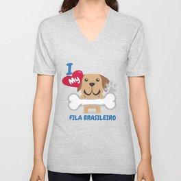 FILA BRASILEIRO Cute Dog Gift Idea Funny Dogs Unisex V-Neck