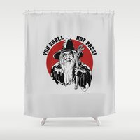 gandalf Shower Curtains featuring you shall not pass gandalf v2 by Buby87
