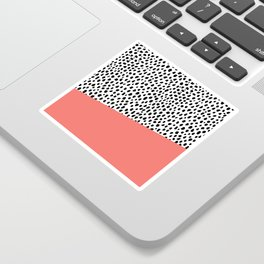 Dalmatian Spots with Coral Stripe (Pantone Living Coral) Sticker