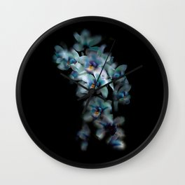 Teal Orchid Wall Clock
