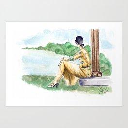 Art Deco Flapper Watercolor Illustration Art Print