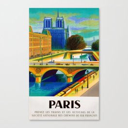 Vintage 1957 Paris River Seine & Notre-Dame Cathedral Travel Advertising Poster by Jacques Garamond Canvas Print
