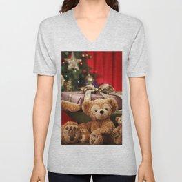 Holiday Christmas Teddy Bear Gift Santa Hat Unisex V-Neck