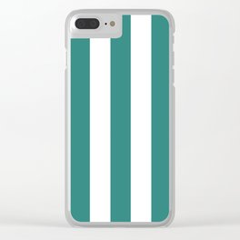 Celadon green - solid color - white vertical lines pattern Clear iPhone Case