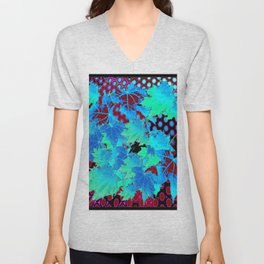 MODERN ART BLUE LEAVES BLOWING IN BLACK ABSTRACT Unisex V-Neck