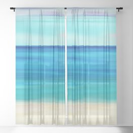 Abstract Seascape 11 Sheer Curtain