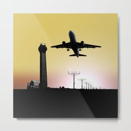 ATC: Air Traffic Control Tower & Plane Metal Print