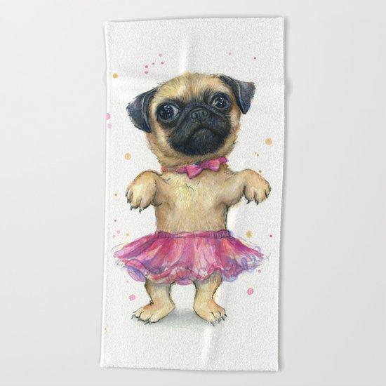Pug in a Tutu Cute Animal Whimsical Dog Portrait Beach Towel