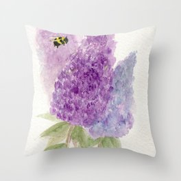 Watercolor Lilacs Spring Garden Flowers Throw Pillow