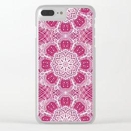 Project 503 | White Lace on Red Clear iPhone Case