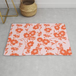 flower from garden_all over_pastel pink & red Rug