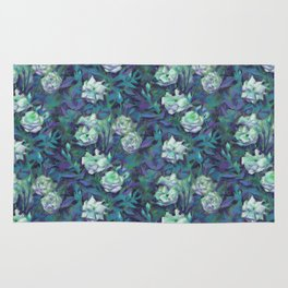 White roses, blue leaves Rug