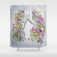 lungs Shower Curtains featuring Floral Anatomy Lungs by Trisha Thompson Adams