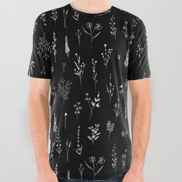 Black wildflowers All Over Graphic Tee