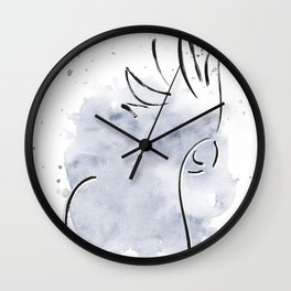 Cockatoo Abstract Brush - Grey Wall Clock