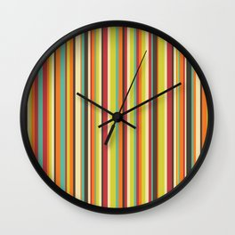 Retro stripes in bright vintage colors (mid century modern; 60s and 70s) Wall Clock