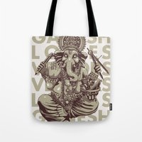 ganesh Tote Bags featuring Ganesh by _MattVector