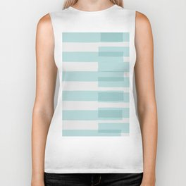 Big Stripes In Turquoise Biker Tank