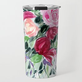 Modern Watercolor Bouquet / Impressionist Flowers Travel Mug