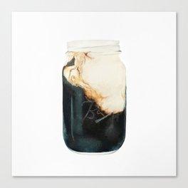 Iced Coffee in Mason Jar Canvas Print