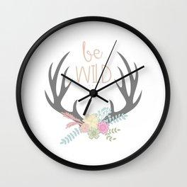 Be Brave Deer Antler Floral Wreath Wall Clock