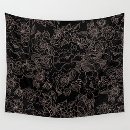 Pink coral tan black floral illustration pattern Wall Tapestry