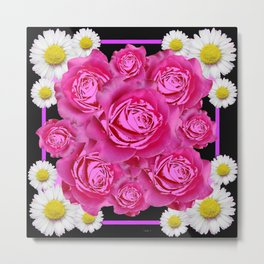 Black Pink on Pink Roses Purple Fuchsia & Daisy Flowers Art Design Metal Print