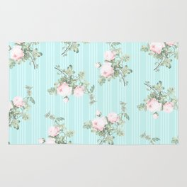 Shabby chic roses pink and mint Rug