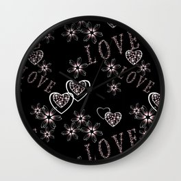 Openwork pattern with hearts.Love , Valentine's day Wall Clock