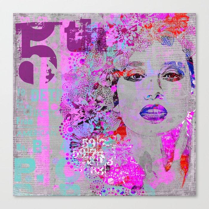 Flower Girl mixed media art grey pink Canvas Print