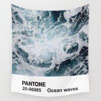 pantone Wall Tapestries featuring PANTONE - Ocean waves by Et Voilà