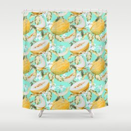 Melons with tropical flowers Shower Curtain