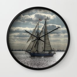 Sailing in the evening Wall Clock