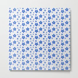 Dainty Blue Flowers on White Background Metal Print
