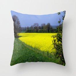 Rapeseed Field, UK  (Brassica napus Linnaeus) Throw Pillow