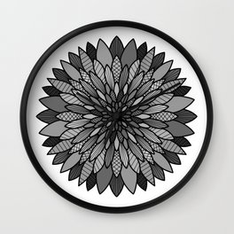Blooming Dahlias On A Black Background  Wall Clock