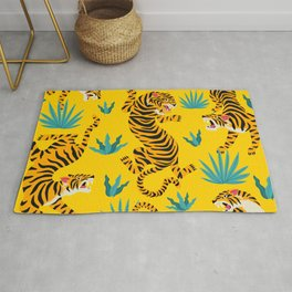 Yellow Tiger Tropical Pattern Rug